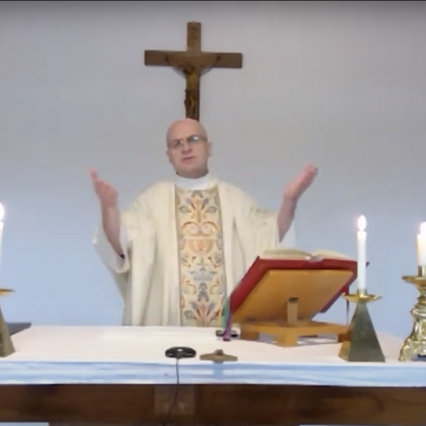 Fr Zbigniew celebrating Easter Sunday Mass